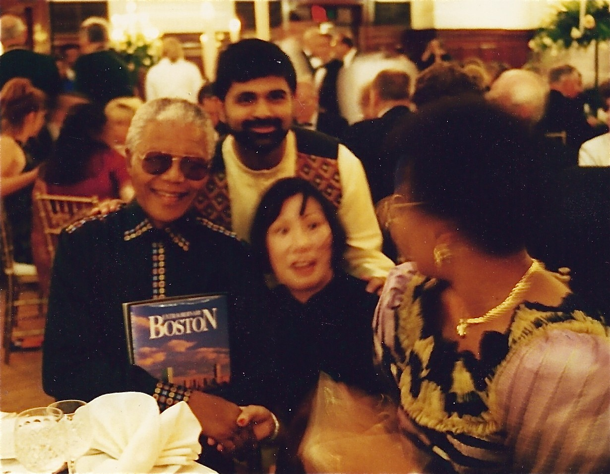 Heeten Kalan with Bik Ng, Graça Machel and Nelson Mandela.